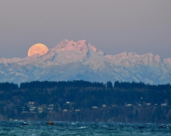 Full Moon Sunrise with the Olympic Mountains Photograph 8x10