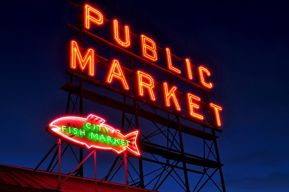 Pike Place Market  Night Sign Photograph 8x10