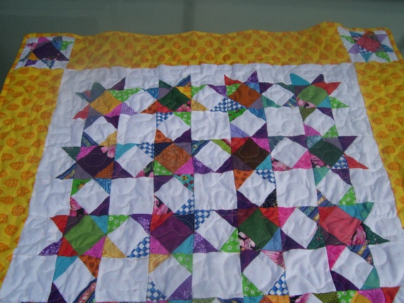 Bright scrappy star quilt