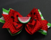 Watermelon Layered Boutique Hair Bow