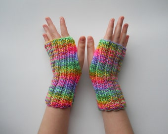 Bright rainbow sherbet arm sox, wrist warmers, texting gloves, pink, orange, lime green, yellow, purple.  Stocking Stuffer. Back to school.