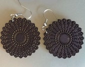 Chocolate Wooden Doily Earrings