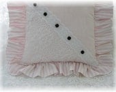 Cottage Chic Pink Rose Ruffled Pillow