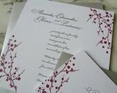 Japanese Cherry Blossom - Letterpress Wedding Invitation with Swarovski Crystal
