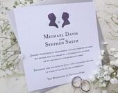 Letterpress Wedding Invitation - Cameo Love