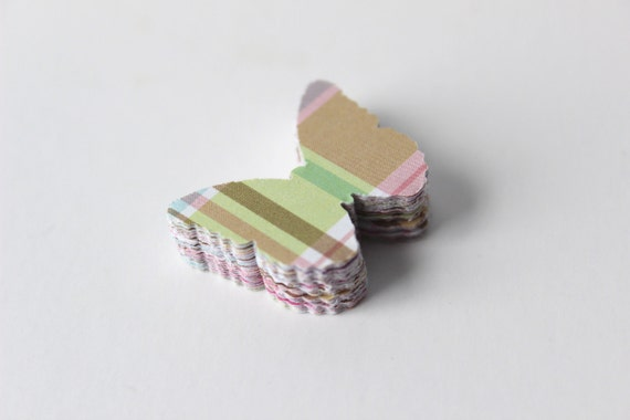 Mini Butterfly Die Cuts - Spring Pastel - Plaid