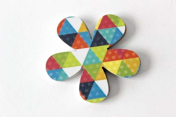 Geometric Flower Die Cuts - Colorful Triangles - Set of 24