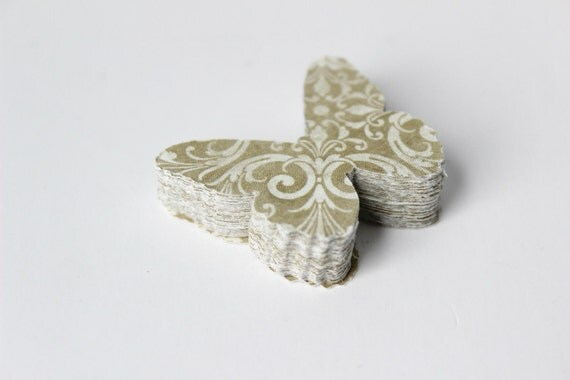 Beige Butterfly Die Cuts - Natural