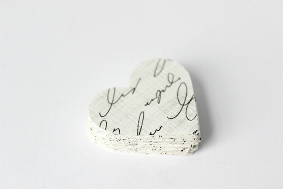 Aged Heart Die Cuts - Typography - Vintage Inspired Writing - Paris