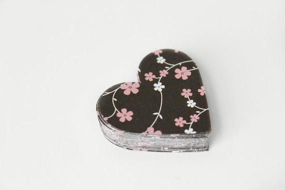 Summer Bloom Heart Die Cuts - Japanese Flowers - Pink Black & White