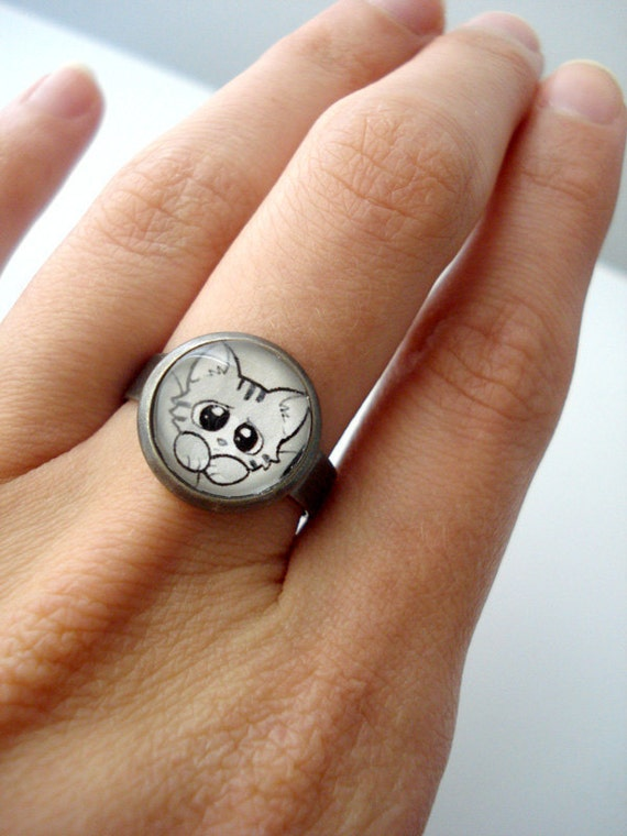 Fluffy Kitty Cat Ring - Girls with Slingshots Jewelry and Gifts - Adjustable, Gunmetal, Antique Silver