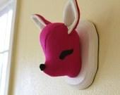 Custom Mounted Deer Head - Animal Friendly Taxidermy - Hot Pink and Cream