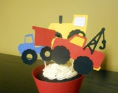 Construction/truck theme cupcake toppers & wrappers - set of 12