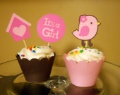 Little birdie girl baby shower cupcake toppers and wrappers - 12 sets
