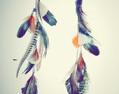 DESIGN YOUR OWN-Extra Long Feather Earrings or Feather Hair Clip Extensions-12 inches long