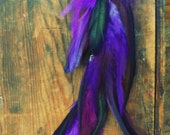 Dark Purple Moon, Single Feather Hair Extension Clip 17inches long, Extra long Feather Earrings
