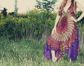 Handmade Purple Bohemian Dress, Long, Organic, Hippie Dress, Tapestry,  Sundress, Scarf Dress, Chakra,  Fairy Dress, XS, Small