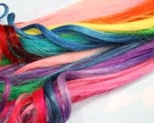 Rainbow Human Hair Extensions, Colored Hair Extension Clip, Hair Wefts, Clip in Hair, Tie Dye Hair Extensions, Festival Hair