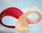 Burning Man, Hot Pink, Red Human Hair Extensions, Colored Hair Extension Clip, Hair Wefts, Clip in Hair, Tie Dye Hair Extensions