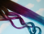 Tie Dye Tips, Purple & Turquoise, Human Hair Extensions. Colored Hair Extension Clip, Clip in Hair, Dip Dyed Hair Tips