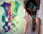 Set of 5 Pastel Hair Wefts, Colored Hair Extensions, FreePeople Inspired Colored Fishtail Braid, Human Hair, Turquoise Hair, Pink Hair