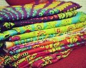 Hand Block Printed Indian Fabric, Hippie Tapestry, Peacock, Bohemian Fabric, Chakra, Mandala, Rainbow, Bohemian Wedding, Festival, Summer