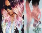 Light Pastel Dip Dyed Hair, Clip In Hair Extensions, Tie Dye Tips, Black Hair, Hair Wefts, Human Hair Extensions, Hippie hair, Pink Hair