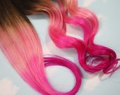 Burning Man, Pink Dip Dyed Hair Extensions For Brunette Hair, 20-22 inches long, Clip In Hair Extensions, Hippie Hair, Pastel Festival Hair