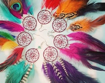 Handmade Dream Catcher Feather Earring Extra Long 8-9 inches, You Choose Feather Symbolism, Grizzly Rooster Hair Feathers