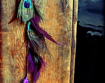 Extra Long Single Feather Chain Earring OR Feather Hair Clip, Extension-18 inches long-Feather Symbolism