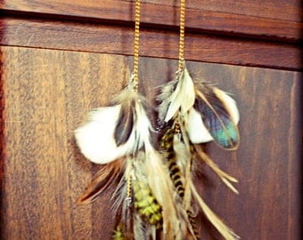 Light as a feather stiff as a board, Extra Long Grizzly Rooster Feather Earrings-16 Inches Long-Natural Feather Hair Extensions, Symbolism