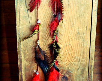 Long Leather Tribal Feather Earrings,14 inches long, Feather Extensions, Hair feathers, Grizzly Feathers, Feather Symbolism
