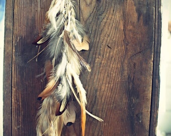 Natural Feather Hair Clip,12 inches, Extra Long Chain Feather Hair Extension-Natural Grizzly Feathers, Rooster Feathers