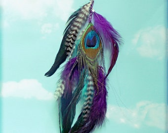 """Handmade Extra Long Feather Extension Chain Hair Clip, 13"""", Made with peacock feathers and grizzly rooster hair feathers"""