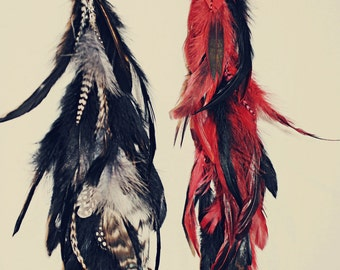 Valentine's Day, Single Chain Feather Earring, Black and Red, 15 Inches long, Hair Extension, Long Feathers, Black, Grizzly Feather
