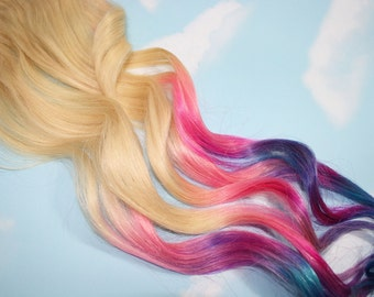 Dipped Dyed Tips, Pastel Tie Dye Tips, Human Hair Extensions. Dip Dyed Hair Extension Clip, Hair Wefts