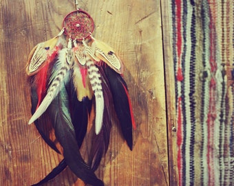 The Quiet Wolf Dream Catcher Single Feather Earring, Extra Long, Red Feathers, Grizzly Feathers, Feather Symbolism