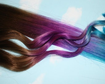 Purple & Turquoise Ombre Human Hair Extensions, Colored Hair Extension Clip, Clip in Hair, Dip Dyed Hair Tips, Blue and Purple Hair, Weave