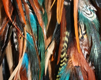 Wild and Free Bohemian Feather Earrings, Handmade Extra Long Chain Feather Earrings Turquoise 14 inches long-Feather Symbolism
