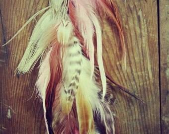 Peacock & Pink long feather hair clip, hippie hair extension, festival hair, bridal feather hair, feather headpiece, champagne bridal