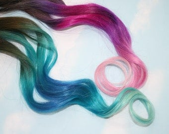 Pastel Tie Dye Tip Extensions, Dark Brown/Black, 20 inches long, Clip In Hair Extensions, Hippie Hair, Dip Dyed Tips
