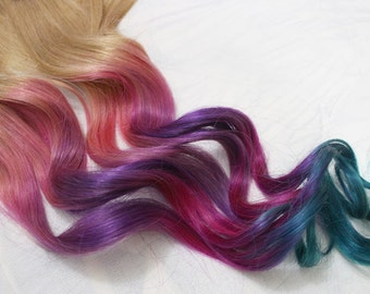 Festival Hair, Pastel Tie Dye Tips, Human Hair Extensions. Colored Hair Extension Clip, Hair Wefts, Clip in Hair, Rainbow Hair Extensions