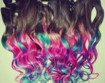 TOP RATED Ombre Clip In Hair Extensions, Seen in Urban Outfitters, Real hair, pastel clip ins, pink hair, blue hair extensions, teal hair