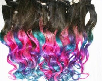 Full Set Ombre Dip Dyed Hair, Clip In Hair Extensions, Tie Dye Tips, Bundle Hair, Hair Wefts, Human Hair Extensions, Hippie hair