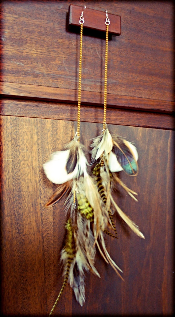 Light as a feather stiff as a board, Extra Long Grizzly Rooster Feather Earrings-10 Inches Long-Natural Feather Hair Extensions, Symbolism