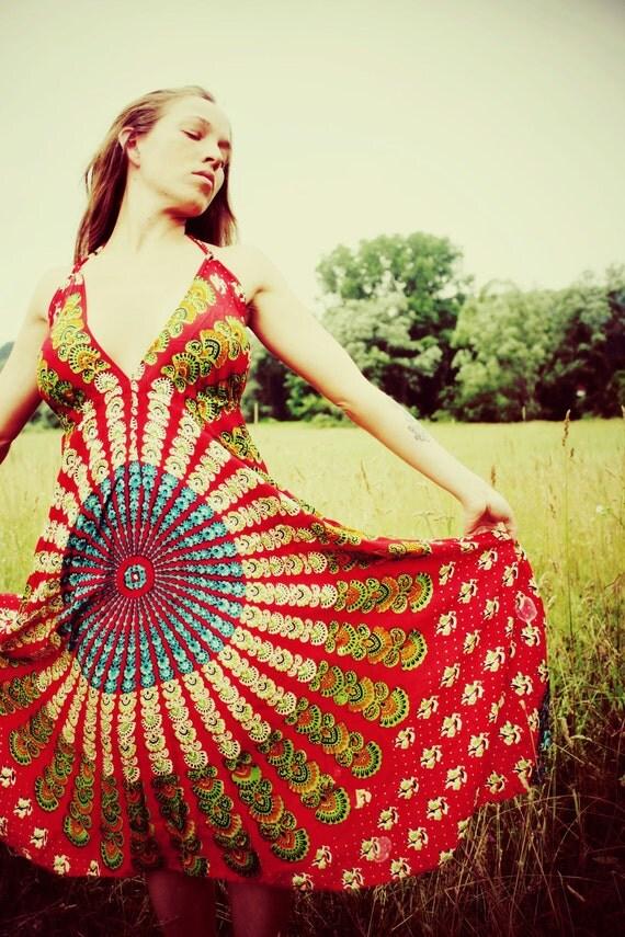 Fields of Maia, Handmade Hippie Dress, Long Bohemian Dress, Red, Tapestry, Sundress, Scarf Dress, Chakra, Fairy Dress, XS, Small