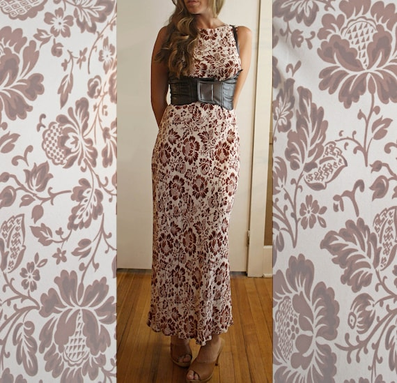 SALE Vintage Long Maxi Dress Size Small, Med Size 4, White and Brown Leaf Fabric, Autumn, Fall Dress