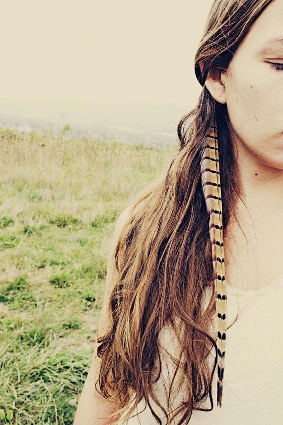 a mano extra lunga fagiano piuma estensione capelli clip 10 - Tavolo Extra Lunga Estensione