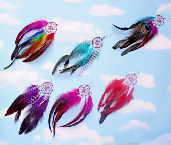 Handmade Dream Catcher Feather Earring SET Extra Long 8-9 inches, You Choose Feather Symbolism, Grizzly Rooster Hair Feathers