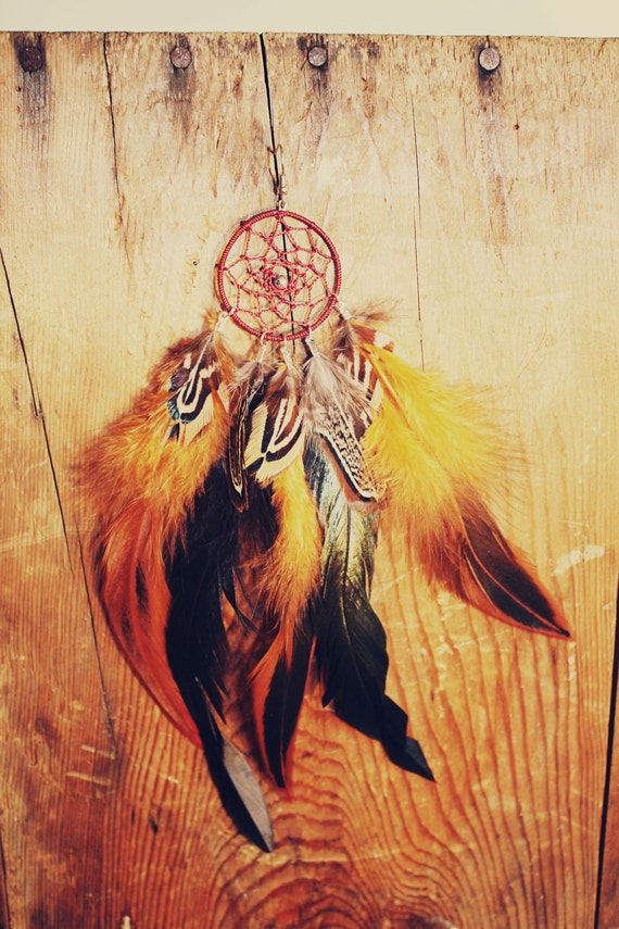 Fall Pumpkin Natural Grizzly Dream Catcher Feather Earring Extra Long 8-9 inches, You Choose Feather Symbolism